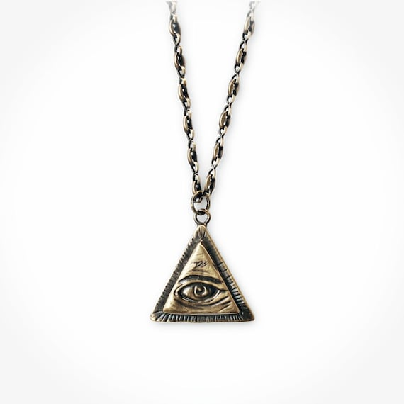 All seeing eye pendant w anchor chain brass illuminati mozeypictures Images