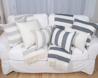 Candy Stripe, pale grey or dark grey cushion