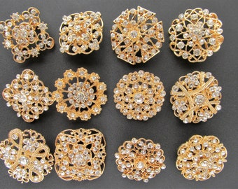 12 Gold Brooch Lot Rhinestone Pearl Pin Mixed Wholesale Crystal Wedding Bouquet Bridal Button Embellishment Shoe Cake Supply DIY Kit BR102
