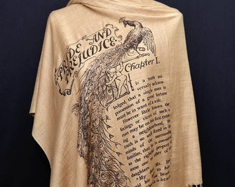 SLIGHTLY IMPERFECT ***  Pride and Prejudice by Jane Austen Shawl Scarf Wrap