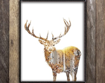 Deer Print, Birch Tree Art, Deer Antlers, Double Exposure Print, Woodland Nursery Decor, Woodland Print, Forest Print, Elk Antler, Hunter