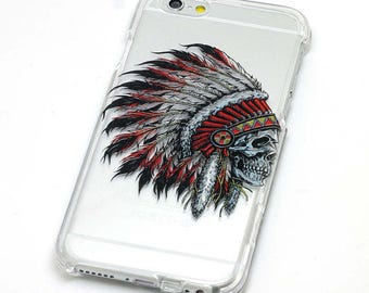Native American Headdress, Phone Case, Transparent, Clear iPhone Case, iPhone 6, iphone 7, iphone 6 plus, iphone 7 plus, iphone 5, iphone se
