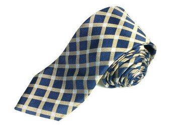 Blue and Gold Gingham Woven Silk Tie