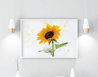 sunflower print, sunflower, illustration, PRINTABLE, download, digital, art print, wall art, custom, prints, gift for her, home decor, print