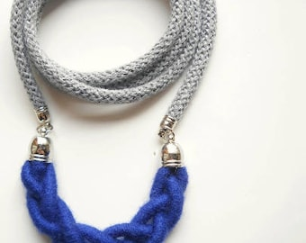 Mother's day gifts Blue Royal Long Necklace in wool for mom Shabby Chic Rope Necklace jewelry Textile Rustic long necklace. Gift for friend