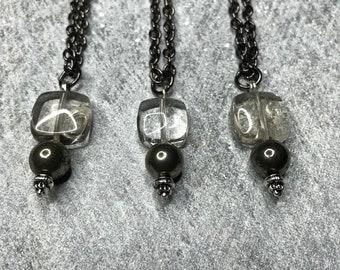 Necklace - Smokey quartz - pyrite - crystal pendant necklace - crystal necklace