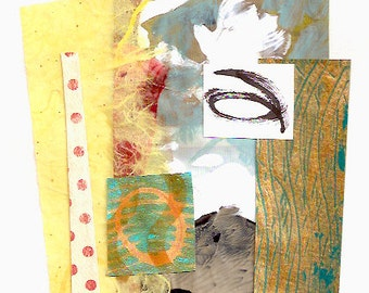 """Inner Voice - Collage with Hand Painted Papers 5 x 5"""" on 5-3/4 x 6-1/2"""" Backing"""