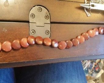 Glistening Goldstone gemstone lentil beads 16 inches