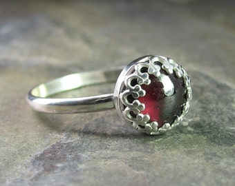 Sterling silver stacking ring gemstone garnet  - Cranberry Jubilee