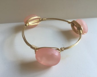 Pink Acrylic Seaglass Wire Wrapped Bangle *Bourbon and Boweties Inspired*