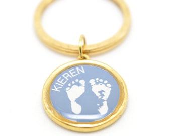 Footprints Keychain | Personalized Keychain | Footprints Keychain |  Mom Gift | Dad Gift | Gold Keychain | Customized Key Ring