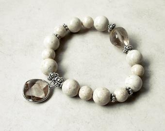 Riverstone Bracelet Sterling Silver Rutilated Quartz Stretch Beaded Bracelet Metaphysical Healing Stones