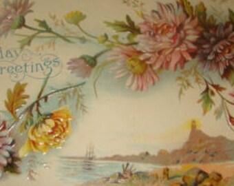 SALE Lovely Vintage Embossed Floral/Sceanic Postcard # 5