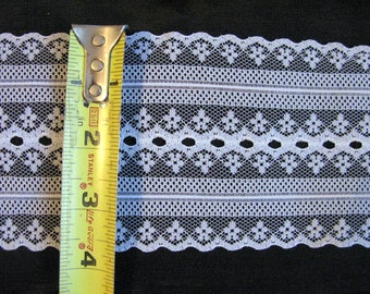 Wide Insertion Lace Trim, White Laces by the yard, 8 yards 4 inches wide stiff lace
