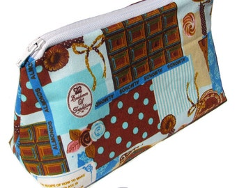 JULY PREORDER Cosmetic pouch bag with patchwork chocolate sweets polkadots japanese fabric make up case gift bag travel toiletry zipper
