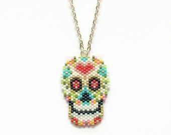 Sugar Skull Necklace - Skull Necklace - Mexican Sugar Skull - All Souls Day Jewelry - Colorful Skull Necklace - Dia de los Muertos Necklace