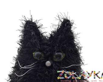 Black cat portrait long hair kitten shaggy hair cat picture portrait new pet owner gift custom cat pillow loss pet gift crochet cat toy