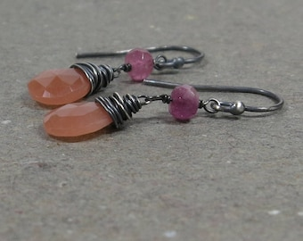 Peach Moonstone Earrings Pink Tourmaline Dangle Oxidized Sterling Silver Earrings Gift for Her
