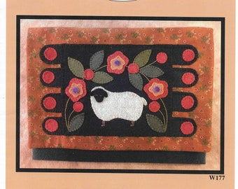 North Cat-Olina Quilts, Sheep Penny Rug Sewing Pocket, Wool Appliqué Pattern