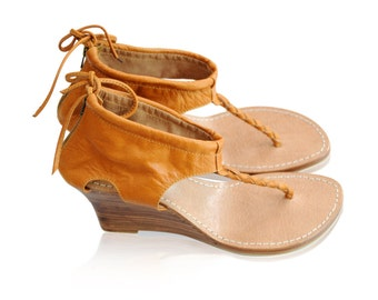 SALE. Sz. 10.5. APHRODITE. Leather wedges / wedge heels / leather high heels / leather sandals / shoes.