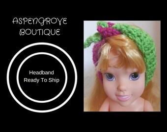14 inch 18 inch Doll crochet fuschia lime green headband handmade ready to ship