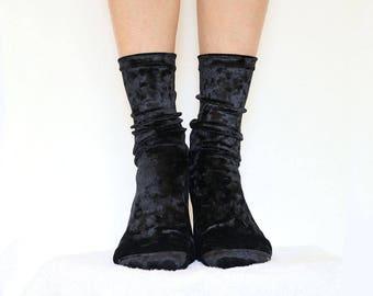 Black Velvet Socks. Handmade Women's Socks. Homemade Socks