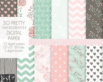 Floral digital paper in mint and pink with wreaths for Valentine cards and decoration. Hand drawn patterns.