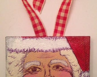 Hand-painted Acrylic Mini Canvas Santa Claus Ornament