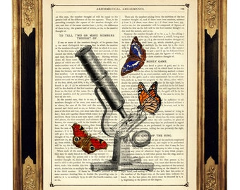 Butterflies Steampunk Poster Microscope Science Optical Instrument - Vintage Victorian Book Page Art Print Dictionary Art