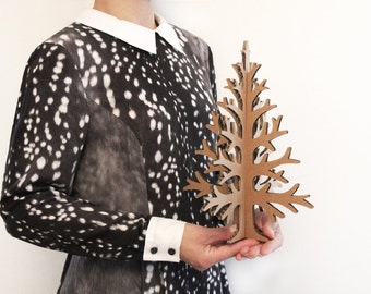 Laser-cut brown recycled cardboard table top christmas tree