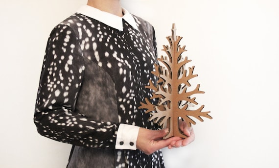 Laser-cut brown recycled cardboard table top christmas tree