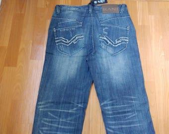 New KARL KANI jeans, oldschool deadstock baggy loose vintage blue, 1990s hip-hop, 90s hip hop clothing, gangsta rap, og, size W 34 NWT