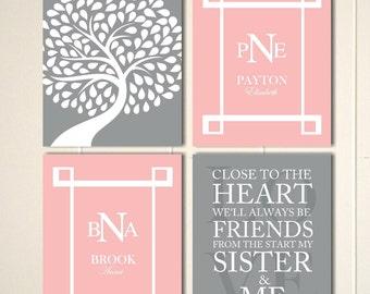 Twins nursery art, sisters wall art, siblings art, girls wall art, shared bedroom wall art, childrens poster, kids wall art, set of 4