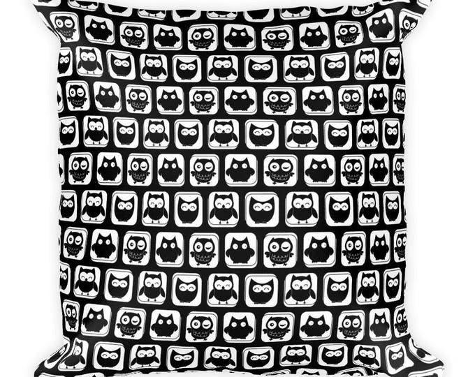 "Cute Black and White 18""x18"" Owl Throw Square Pillow, Decorative Throw Pillow, Pillow, Owl Pillow,Gift Pillow, Nature Pillow, Pattern Pillow"