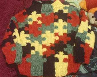Sweater 4 colors tribute puzzle has autism size 8-9 years