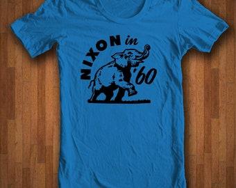 Richard Nixon - Nixon in 60 Political Campaign Button Shirt Featuring the Republican Elephant