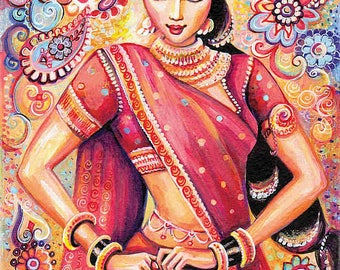 Devika Dance feminine beauty bollywood dance Indian decor beautiful Indian woman painting belly dance art gift, woman wall print 8x10.5+