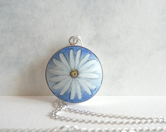 Daisy Pendant Necklace, Hand Painted Wooden Pendant in Sterling Silver Setting, Charm Chain Necklace, Unique Daisy Jewelry