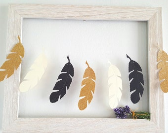 On Sale,Feather garland,Feather decor,Hobo garland,wild one party,feather banner,DIY garland,feather cut outs,Tribal Party garland Boho