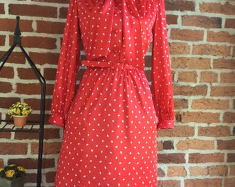Vintage 70's Red with Petite Floral Print with Bow Detail/Collar