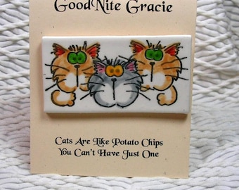 Goofy Cat Trio Fired Clay Brooch Earthenware Clay Pin by Grace M Smith