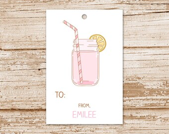 pink lemonade tags, gift tags . personalized .  happy birthday tags . mason jar . PRINTABLE tags . wording choices . You Print
