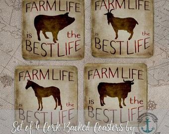 Coaster Set | Farm Life is the Best Life   | Cow Horse Goat & Pig Farmhouse Chic Decor | Cork Back Non Slip | Options at Checkout