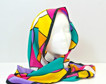 Vintage Head Scarf, 80s Virginia Slims Bold Colorblock Long Scarf, Bright Colors Long Geometric Hair Wrap, Polyester Neck Scarf