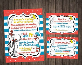 Dr. Seuss Cat in the Hat Baby Shower Invitation Thing 1 Thing 2 Digital Printable Printed Dr Seuss Baby Shower Invitations Dr. Seuss Theme