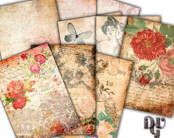 VICTORIAN Digital Collage Sheet, Shabby Chic floral ACEO Size, printable vintage Cards, instant download printable background vintage  A_003