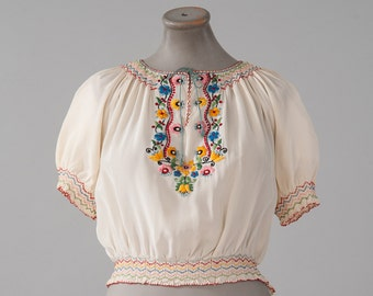 Vintage 1920s Hand Embroidered Peasant Blouse, Hungarian 20s 30s Boho Blouse, White Silk Ethnic Blouse, Short Sleeves, Women's Bouses, Tops