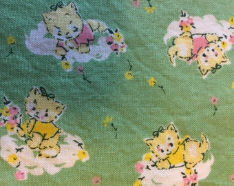 Repro midcentury style pale yellow white and pink kittens in shirts with posies on jadite green one yard sewing quilting cotton remnant