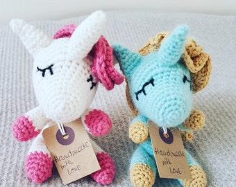 White tiny crochet unicorn