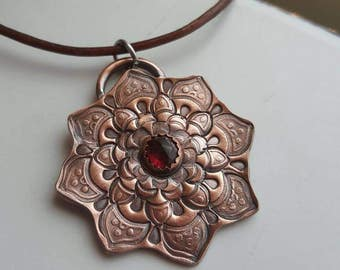 Hand Stamped Copper And Garnet Mandala Pendant Mandala Necklace